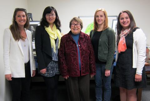 Blanche Sudman and winners: from left to right- Stephanie Timm, Dongying Li, Blanche Sudman, Kaye Usry, and Katherine Ann Magerko.