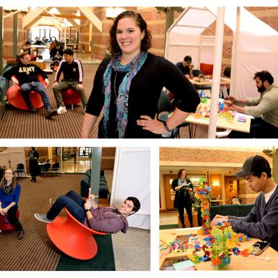 The Beckman Institute atrium became a learning laboratory for Amanda Henderson's MFA thesis project.